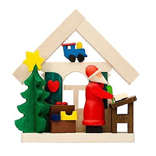 Pinnacle Peak Trading Company Santa House with List German Wood Christmas Tree Ornament Decoration Germany