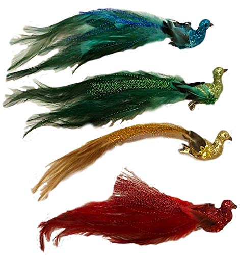 One Hundred 80 Degrees Peacock Clip-On Ornament Set of Four