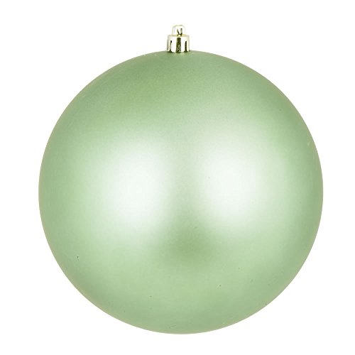 Vickerman N590854DMV Matte Ball Ornaments with Shatterproof UV Resistant, Pre-drilled cap Secured & 6″ of Green Floral Wire in 12 Per Bag, 3″, Celadon