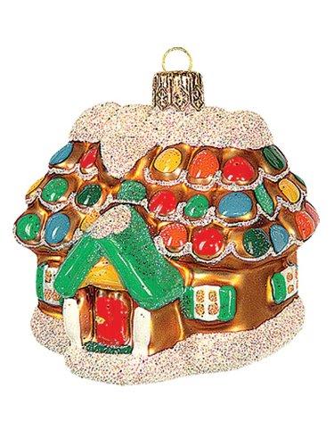 Pinnacle Peak Trading Company Gingerbread Cottage House Polish Glass Christmas Ornament Tree Decoration