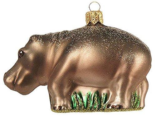 Pinnacle Peak Trading Company Hippo Hippopotamus Polish Glass Christmas Ornament Wildlife Animal Decoration