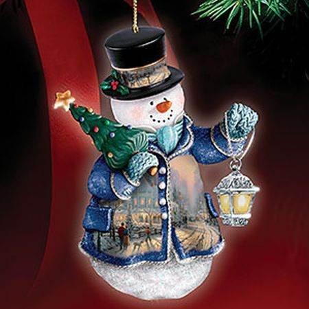 "Thomas Kinkade ""A HOLIDAY GATHERING"" Winter Wonderland SNOWMAN Ornament! ADORABLE! Beautifully Crafted!"