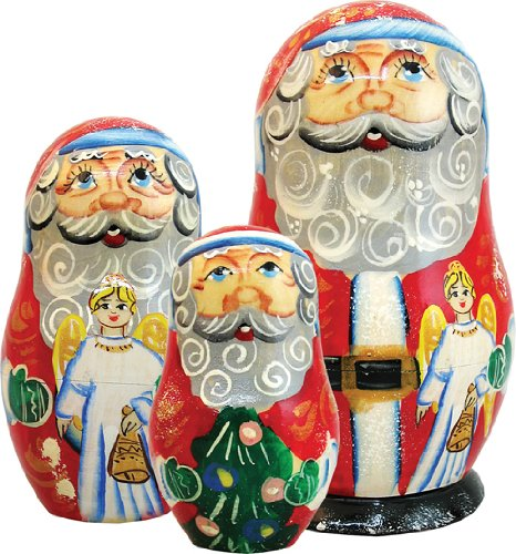 G. Debrekht 5 Inch Santa-Angel Nested Doll, 3-Pieces