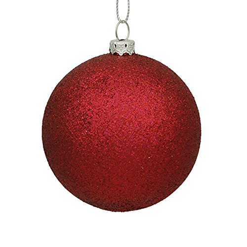 Vickerman N591019DG Glitter Ball Ornaments with Shatterproof UV Resistant, Pre-drilled cap Secured & 6″ of Green Floral Wire in 6 per bag, 4″, Wine