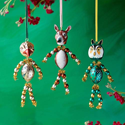 Glitterville Animal Figure Glass Ornaments Owl Chicken Dog Nathalie LÉTÉ