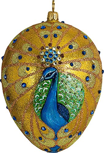 Joy To The World Glitterazzi Golden Peacock Jeweled Egg Polish Glass Christmas Tree Ornament New