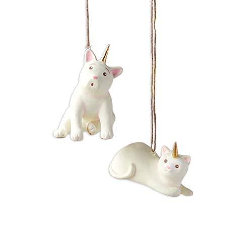 One Hundred 80 Degrees Set of 2 French Bull Dog and Cat Unicorn Resin 3.75 Inch Ornaments