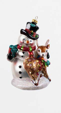 One Hundred 80 Degrees Glass Ornament (Snowman with Deer)