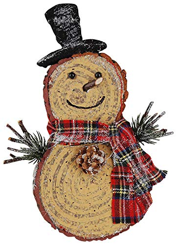 Hanging Christmas Wood Snowman with Scarf and Green Arms, 7 3/4 Inch