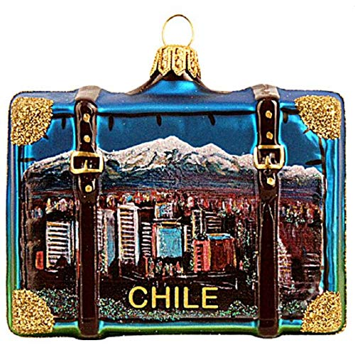 Pinnacle Peak Trading Company Chile Travel Suitcase Polish Glass Christmas Ornament South America Decoration