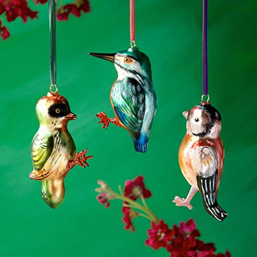 Glitterville Bird Glass Ornaments Set of 3 Nathalie LÉTÉ Collection New