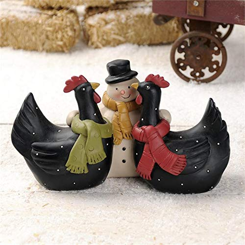 Blossom Bucket Snowman with Chickens – Black Hens w/Scarves Resin Country Christmas Holiday Prim Decor 3.5 x 7.5