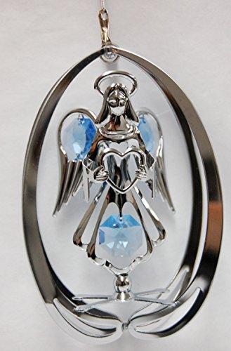 Chrome Angel in Elipse Ornament – Blue Swarovski Crystal