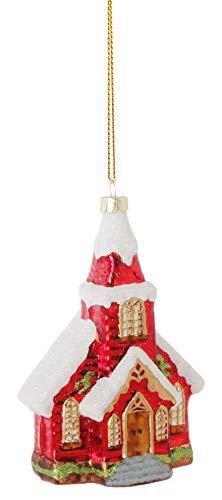 RAZ Imports Traditional Church Figurine Glass Ornament
