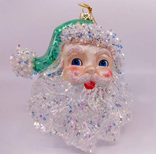 5.5 Large Cheerful Santa Claus Father Christmas Clear Snowflake Christmas Tree Ornament (Blue/Green)