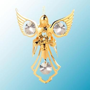 24k Gold Angel with Flowers Ornament – Clear Swarovski Crystal