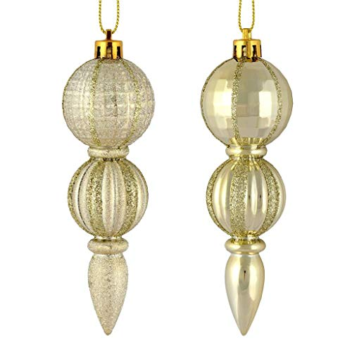 Vickerman 544440-5″ Champagne Glitter/Matte Finial Christmas Tree Ornament (set of 6) (M183638)