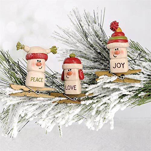 Blossom Bucket Set of 3 Snowmen Marshmallow Men Tree Clips – Peace Joy Love Resin Country Christmas Holiday Prim Decor 2.25 x 2.25