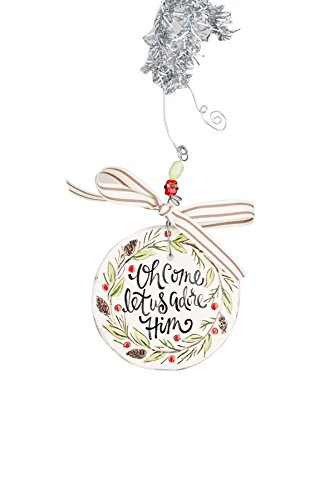 Glory Haus 4 x 4 Let Us Adore Him Flat Ornament, Multicolor