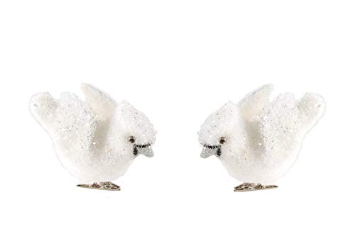 Blossom Bucket White Bird Clip-On Ornaments – Set of 2