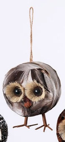 One Hundred 80 Degrees Feather Owl Ornament, Choice of Styles (Feather Owl Ornament-middle)