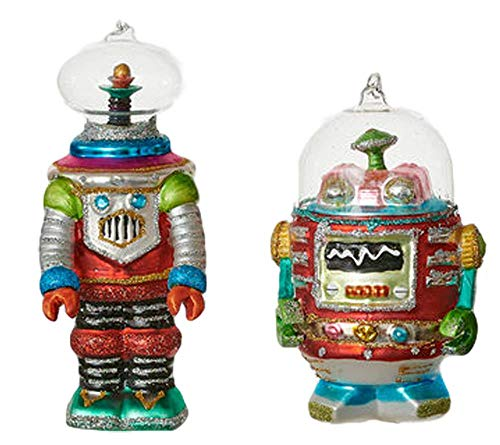 One Hundred 80 Degrees Robot Ornaments Set of Two
