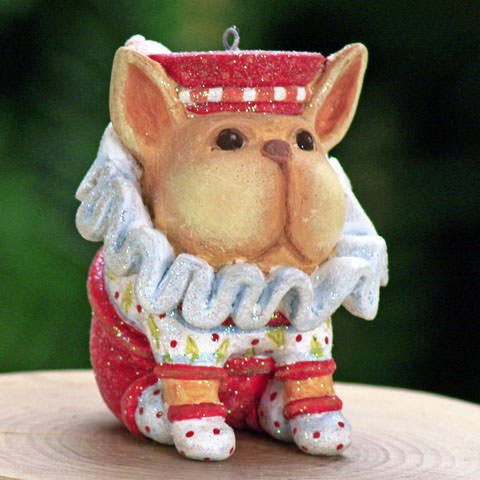 Patience Brewster Mini French Bulldog Christmas Figural Ornament 08-30408