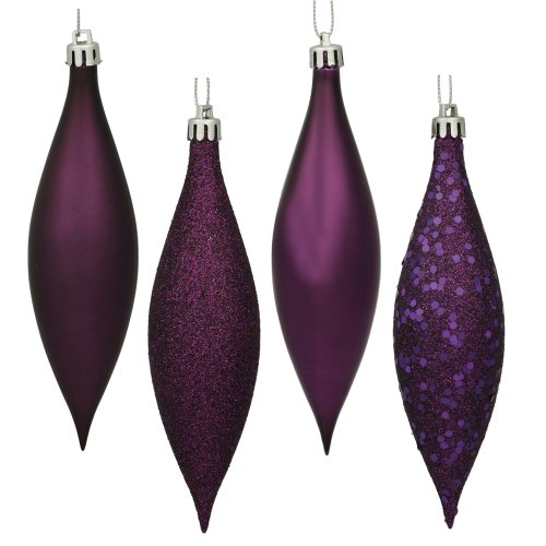 Vickerman N500126 Finial 4 Finish (Shiny, Matte, Glitter and Sequin) with Asst Shatterproof 8/Clear Acetate Box, 5.5″, Plum