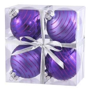 Vickerman Glitter Ball Assorted Ornaments-4 Per Box, 3-Inch, Purple