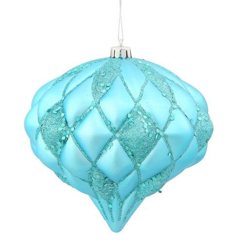 Vickerman Matte/Glitter Diamond Ornament, 5.7-Feet, Teal