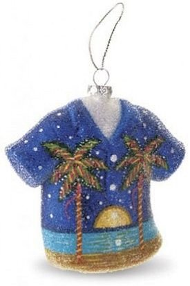 """Moonlight Palms"" Aloha Shirt Glass Ornament"