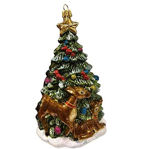 Pinnacle Peak Trading Company Christmas Tree with Deer and Birds Polish Glass Ornament Made in Poland