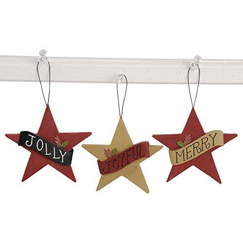 Blossom Bucket Jolly Joyful Merry Stars 5 x 3.25 Inch Resin Stone Christmas Ornaments Set of 3