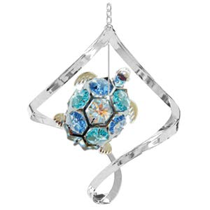 Chrome Plated Sea Turtle in Spiral Ornament w/Mixed Swarovski Element Crystal