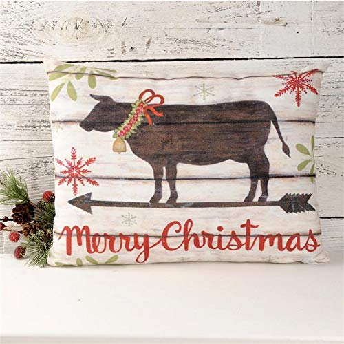 Blossom Bucket Country Christmas Holiday Pillow – Merry Christmas with Cow Country Christmas Holiday Prim Decor 14 x 10