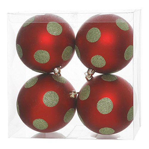 Vickerman Polka Dot Glitter Ball Ornaments, 4.7-Inch, Red and Lime, 4-Pack