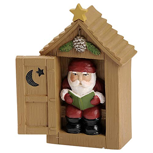 Blossom Bucket Santa in Outhouse 3.25 x 2.5 Inch Resin Stone Christmas Tabletop Figurine