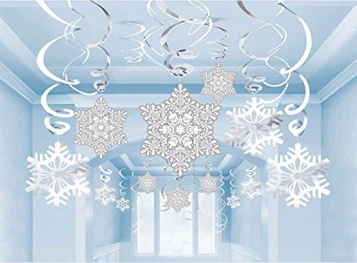 36Ct Christmas Snowflake Hanging Swirl Decorations – Winter Wonderland/Xmas/Holiday Party Supplies36Ct Christmas Snowflake Hanging Swirl Decorations – Winter Wonderland/Xmas/Holiday Party Supplies