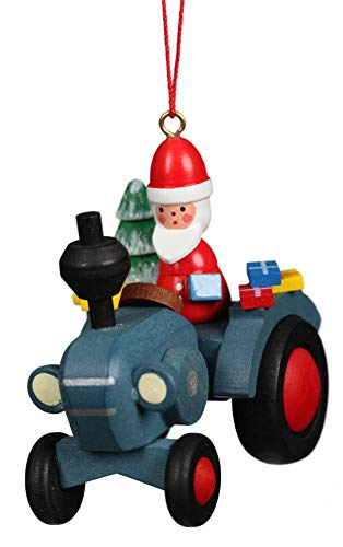 Alexander Taron Christian Ulbricht Tractor with Santa Holiday Blue 3 x 2 Wood Christmas Ornament
