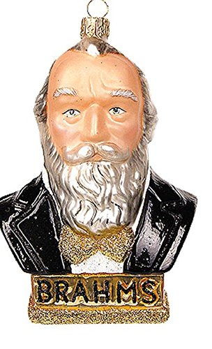 Pinnacle Peak Trading Company Brahms Musical Composer Bust Polish Blown Glass Christmas Ornament Decoration