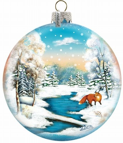 G. Debrekht 3-1/2 Inch Winter Fox Glass Ball Ornament