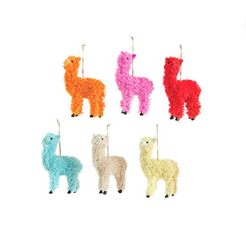 One Hundred 80 Degrees Set of 6 Colorful Llama Hanging Christmas Ornament Assortment, 5 inch