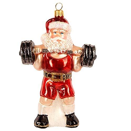 Pinnacle Peak Trading Company Weightlifting Santa Claus Polish Glass Christmas Tree Ornament Fitness Exercise
