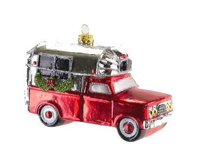 One Hundred 80 Degrees Glass Red Truck with Silver Camper and Green Garland, Christmas Wreath and Bumper Stickers Christmas Tree Ornament