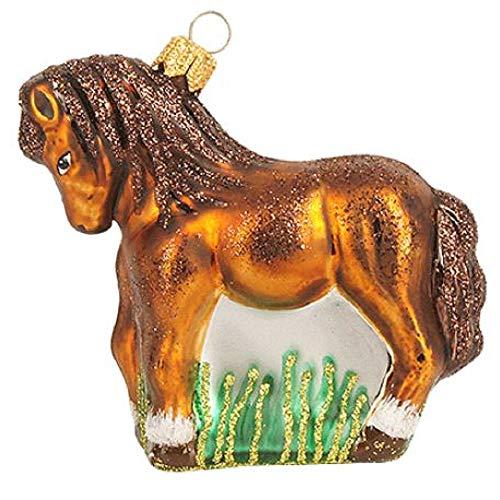Pinnacle Peak Trading Company Little White Brown Polish Glass Christmas Tree Ornament Pony Ponies Animal