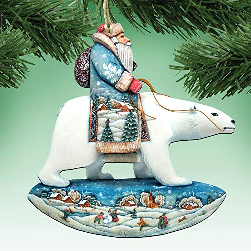 G. Debrekht Christmas Ornaments – Santa on Polar Bear Decorative Holiday Ornament 8116382