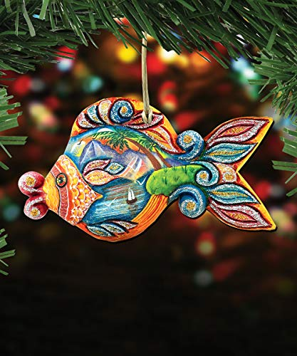 G. Debrekht Christmas Ornaments – Sea Life Wooden Christmas Tree Ornaments – Christmas Decorations for Holiday (Paradise Fish)