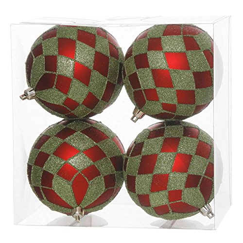 Vickerman Pack of 4 Matte Red and Lime Green Glitter Diamond Christmas Ball Ornaments 4″ (100mm)