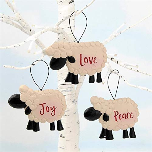 Blossom Bucket Set of 3 Sheep Ornaments – Peace Joy Love Resin Country Christmas Holiday Prim Decor Each is 2.5 x 3