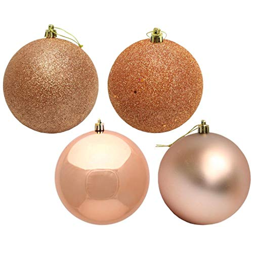 Vickerman 443415-2.4″ Rose Gold 4 Assorted Finish Ball Christmas Tree Ornament (24 pack) (N590658)